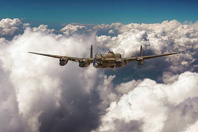 Avro Lancaster Above Clouds Poster by Gary Eason