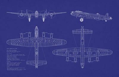 Avro Lancaster Bomber Blueprint Poster by Michael Tompsett
