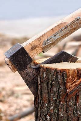Axe Chopping Log Poster by Boyan Dimitrov