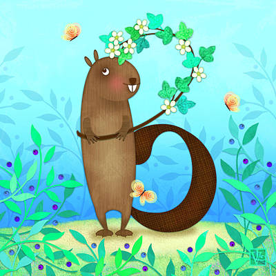 B Is For Beaver With A Blossoming Branch Poster by Valerie Drake Lesiak
