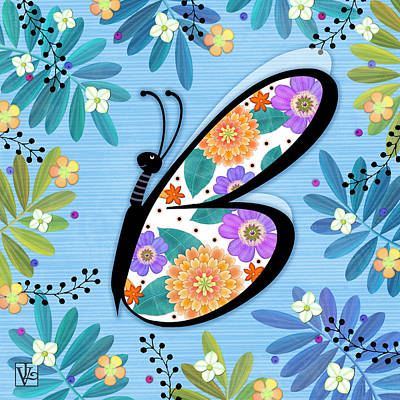 B Is For Butterfly Poster by Valerie Drake Lesiak