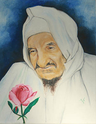 Baba Sali With Rose Poster by Miriam Leah