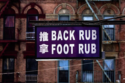 Back And Foot Rub Chinatown Nyc Poster by Robert Ullmann
