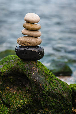 Balancing Zen Stones By The Sea IIi Poster by Marco Oliveira