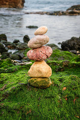 Balancing Zen Stones By The Sea Iv Poster by Marco Oliveira