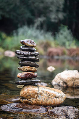 Balancing Zen Stones In Countryside River I Poster by Marco Oliveira
