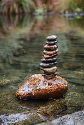 Balancing Zen Stones In Countryside River IIi Poster by Marco Oliveira