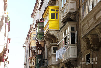 Balconies Of Valletta 1 Poster by Jasna Buncic