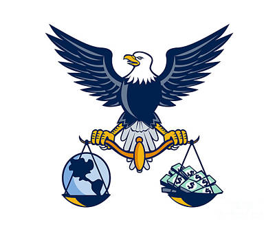 Bald Eagle Hold Scales Earth Money Retro Poster by Aloysius Patrimonio