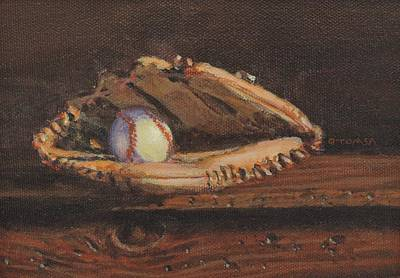 Ball And Glove Poster by Bill Tomsa