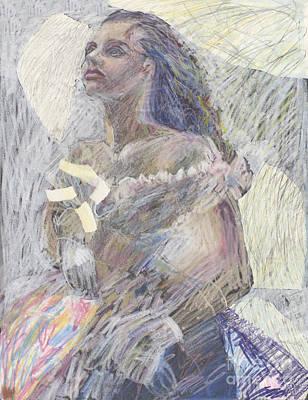 Ball Gown Model - Original Drawing Poster by Elizabetha Fox