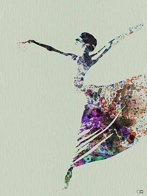 Ballerina Dancing Watercolor Poster by Naxart Studio