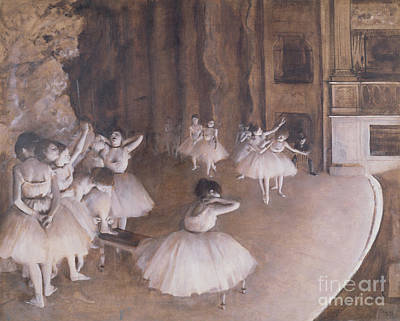 Ballet Rehearsal On The Stage Poster by Edgar Degas