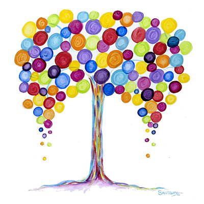 Balloon Tree Poster by Heather Saulsbury