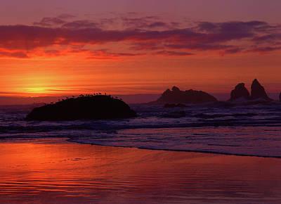 Bandon Beach Sunset Poster by Jim Nelson