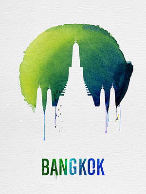 Bangkok Landmark Blue Poster by Naxart Studio