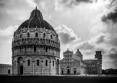 Baptistry Of St. John, Cattedrale Di Pisa, Leaning Tower Of Pisa, Italy Poster by Chris Coffee