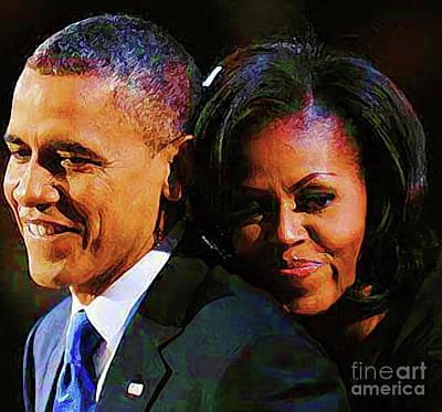 Barack And Michelle Poster by Cheryl Riley