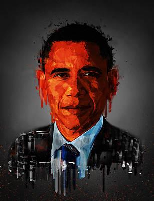 Barack Obama Acrylic Portrait Poster by Georgeta Blanaru