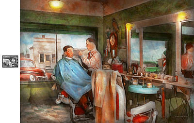 Barber - Getting A Trim 1942 - Side By Side Poster by Mike Savad
