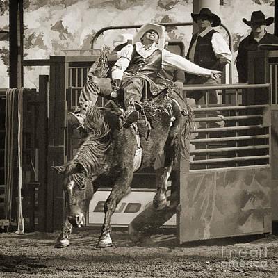 Bareback Riding At The Senior Pro Rodeo Poster by Priscilla Burgers