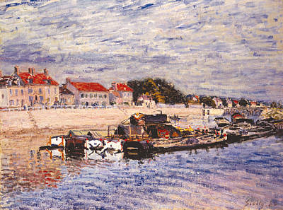 Barges On The Loing At Saint Mammes Poster by Alfred Sisley