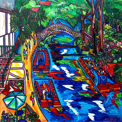 Barges On The Riverwalk Poster by Patti Schermerhorn