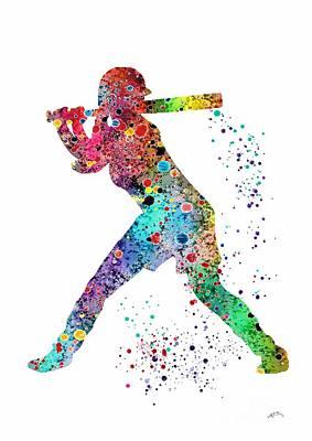 Baseball Softball Player Poster by Svetla Tancheva