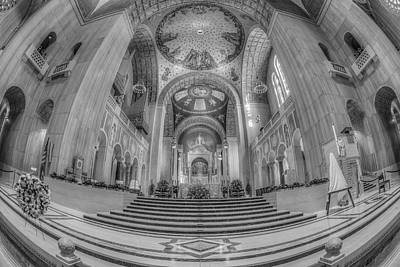 Basilica Of The National Shrine Main Altar Bw Poster by Susan Candelario