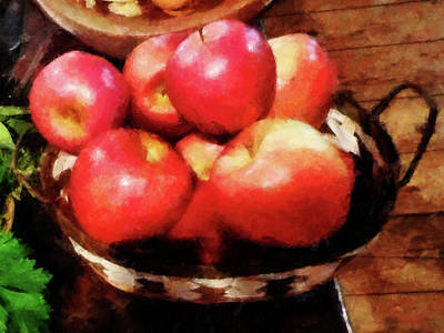Basket Of Apples In Kitchen Poster by Susan Savad
