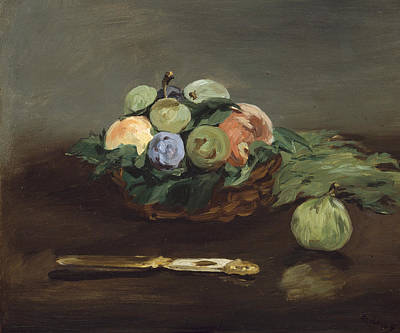 Basket Of Fruit Poster by Edouard Manet