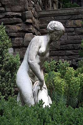 Bathing Nude Statue At Cheek Mansion Poster by Valerie Collins