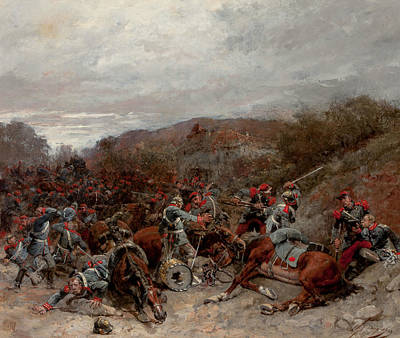 Battle Scene From The Franco-prussian War Poster by Wilfrid Constant Beauquesne