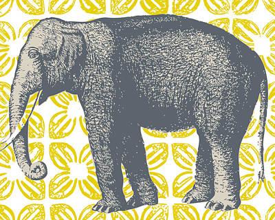 Bazaar Elephant Yellow Poster by Thomas Paul