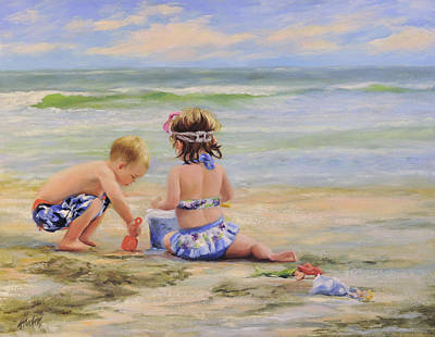 Beach Babies And Toys Poster by Katherine Tucker
