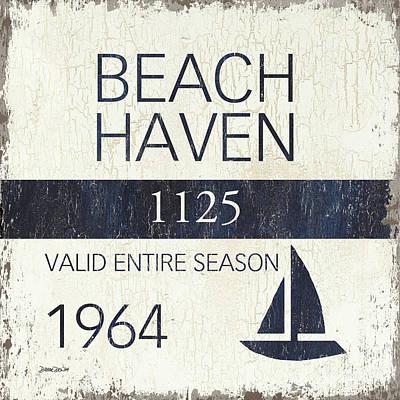 Beach Badge Beach Haven Poster by Debbie DeWitt