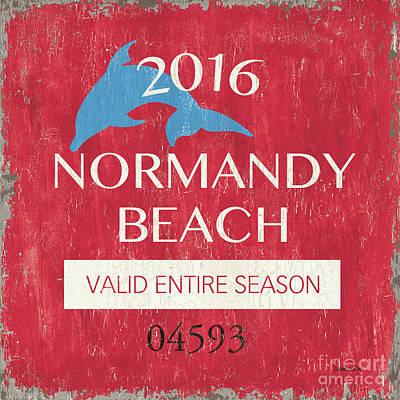 Beach Badge Normandy Beach Poster by Debbie DeWitt