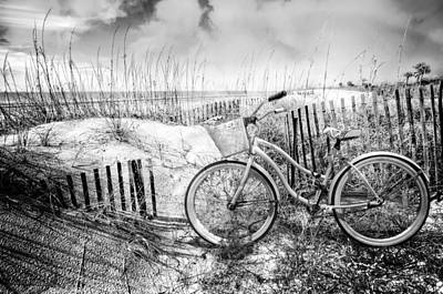 Beach Bike At The  Dunes In Black And White Poster by Debra and Dave Vanderlaan