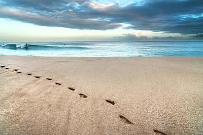 Beach Break Footprints Poster by Sean Davey