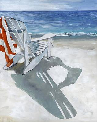 Beach Chair Poster by Debbie Brown