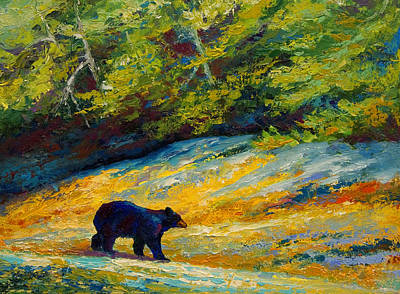 Beach Lunch - Black Bear Poster by Marion Rose