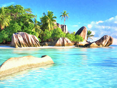 Beach On La Digue Seychelles Poster by Dominic Piperata
