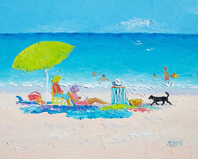 Beach Painting - Lazy Beach Day Poster by Jan Matson