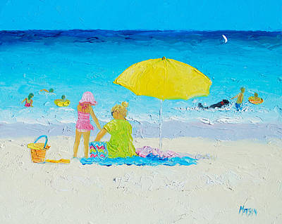 Beach Painting - Yellow Umbrella Poster by Jan Matson