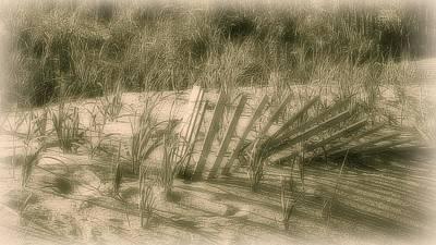 Beach Sand Dune - Jersey Shore Poster by Angie Tirado