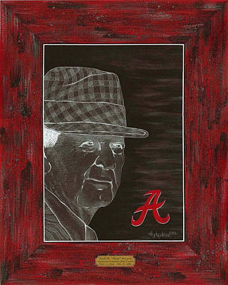 Bear Bryant T-shirt Poster by Herb Strobino