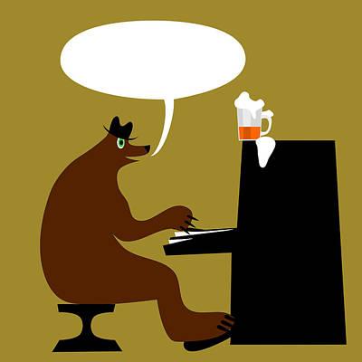 Bear By Piano  Poster by Lenka Rottova