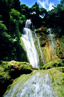 Beautiful Cascades Of Mele Falls Surrounded By Lush Foliage Poster by Sami Sarkis