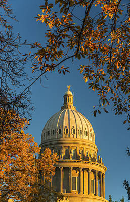 Beautiful Idaho State Capitol In Autumn Morning Poster by Vishwanath Bhat