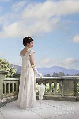 Beautiful Regency Woman Admiring The View From The Terrace Poster by Lee Avison
